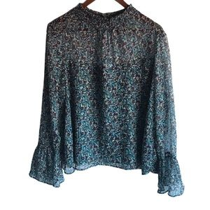 Women's Xhilaration Teal Floral Printed Blouse